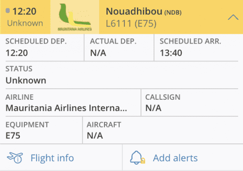 تطبيق (فلايت رادار) وهو يظهر معلومات عن وصول الطائرة